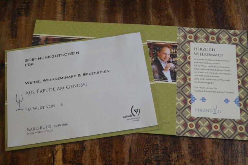 60,00 € Wertgutschein für Weine, Weinseminare und Spezereien
